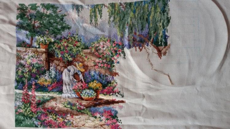 Умиротворяющий сад вышивка