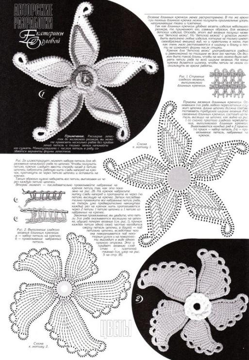 Тунисское вязание крючком цветы схемы