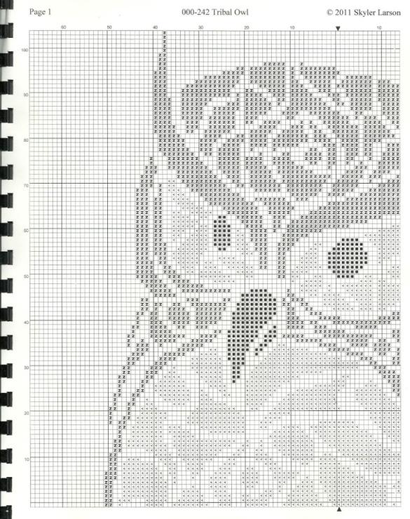 Вышивка крестом совы монохром 15
