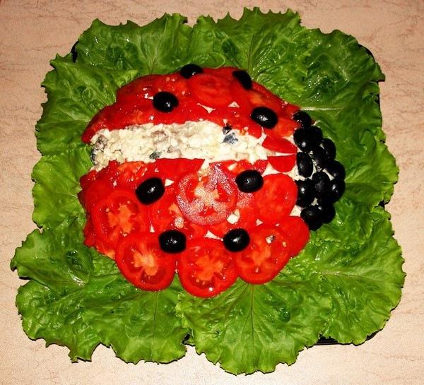 Украшение летних салатов с фото