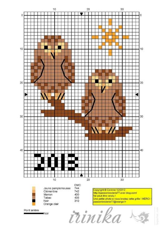 Схема вышивки крестом сова на горшке