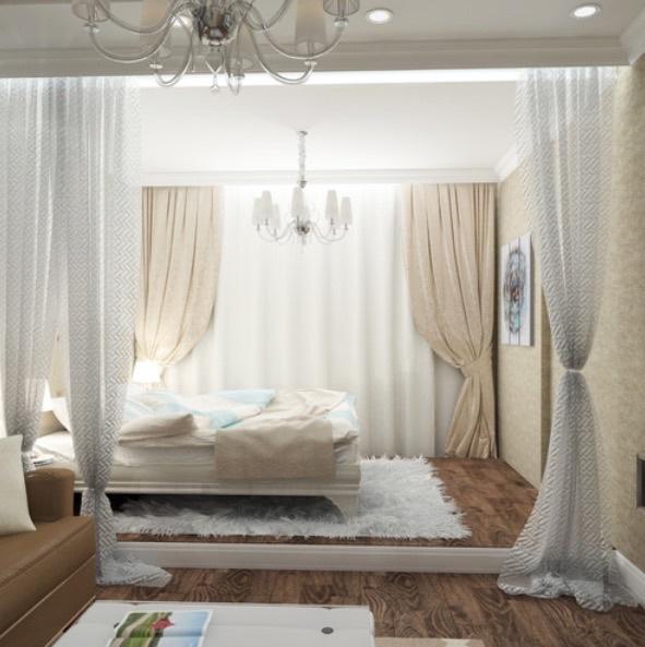 Как сделать из одной комнаты спальню и гостиную фото в хрущевке