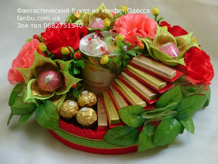 Поздравления к цветам из конфет