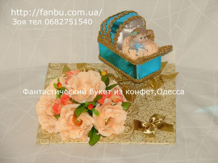 Подарки из конфет на рождение ребенка 370