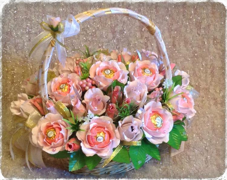 Как собрать корзину с цветами своими руками 84