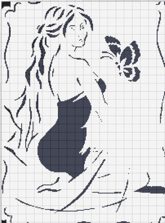 Девушка схема вышивки крестом черно белые схемы