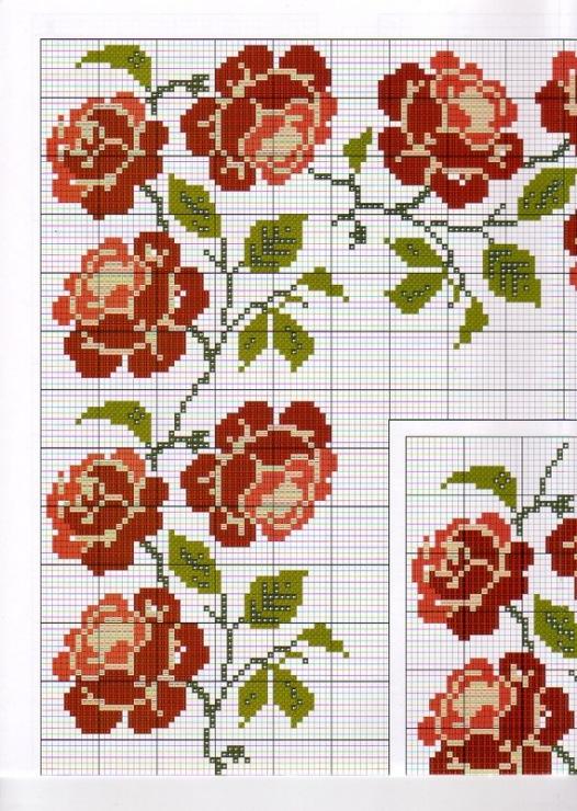 Вышивка для скатерти цветы 967