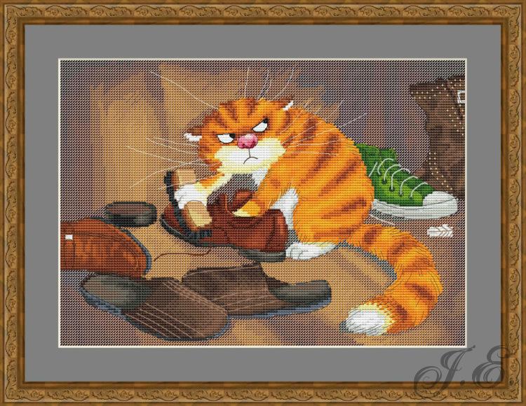 Схема вышивки шкодный кот чистит обувь