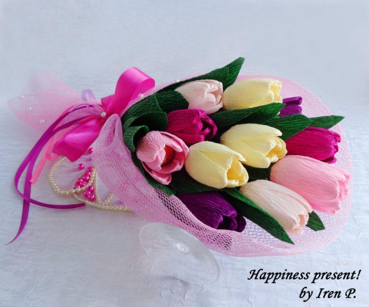 Как сделать конфетные букеты из тюльпанов мастер класс
