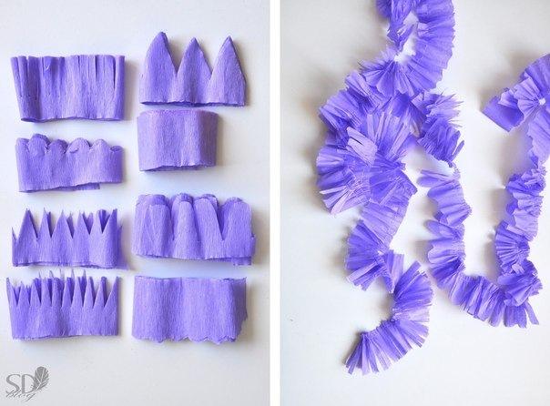 Цветы из гофрированной бумаги для венка